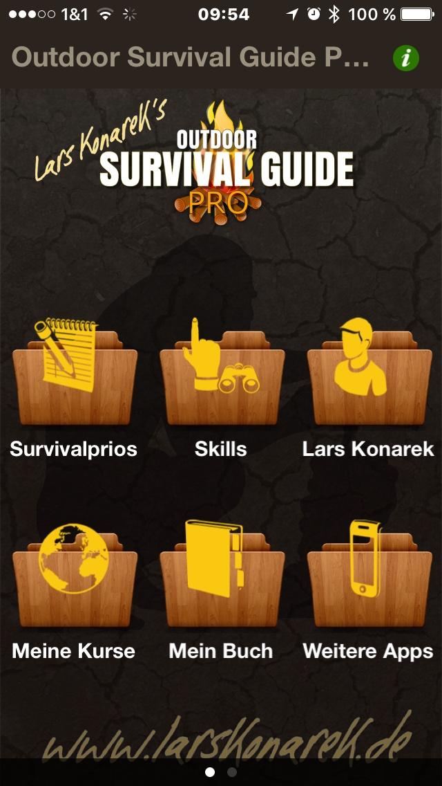 Outdoor Survival Guide Pro - Auswahlmenü
