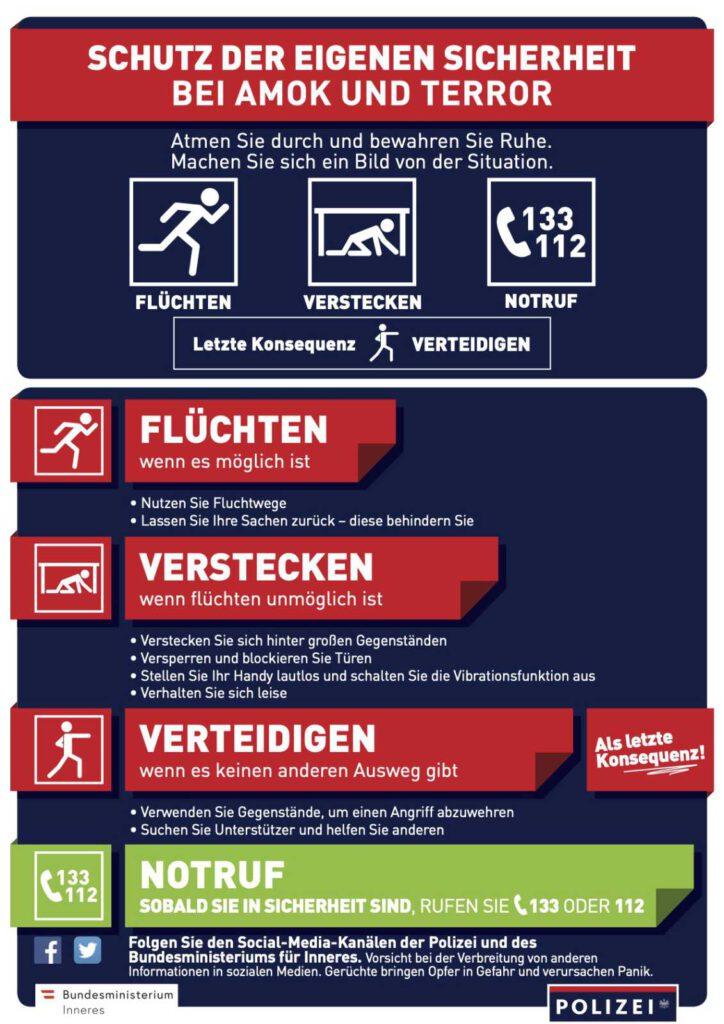 Flyer des österreichischen Innenministerium